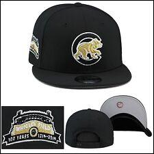 New Era Chicago Cubs Snapback Hat Cap BLACK/GOLD BEAR/Wrigley Field 100th Patch