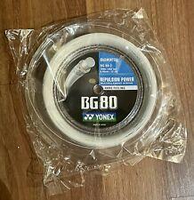 Yonex BG80 Badminton String - 656ft 200m Reel. 0.68mm 22 Gauge. BG 80 White, New