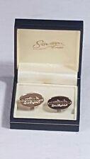 Stratton of London Oval Shaped Cufflinks Boxed Queen Elizabeth II Liner No42