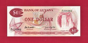 SCARCE 1989 ONE 1 DOLLAR GUYANA UNC NOTE (P-21f) Sign P. Matthews & C. Greenidge