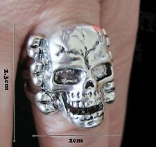 Skull and Bones Ring Stainless Steel Silver Mens Biker Gothic  Size R