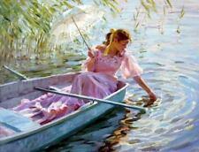 CHENPAT337 long dress sunshade girl boat dabbling art oil painting on canvas
