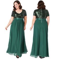 Goddiva Emerald Short Sleeve Chiffon Sequin Maxi Evening Dress Formal Ball