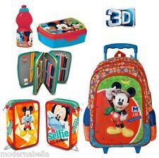 set zaino Trolley 3D Topolino Mickey Mouse Astuccio Triplo set colazione scuola