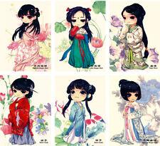 LOT 16PCS Postcard Chinese Ancient Costume Cartoon Dolls Skirts Set Bulk #42