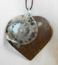 Stunning Heart Shape Ammonite Fossil Pendant Necklace - BNIB (Q)