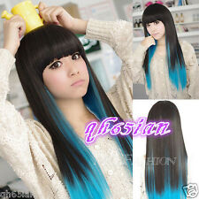 Fashion wig New sexy women's long Black mix blue Straight Natural Hair wigs