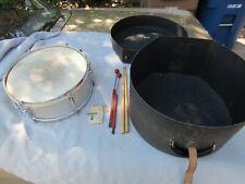 VTG 1961 Slingerland Silver Sparkle Snare Drum Orig. Heads Krupa sticks case LOT