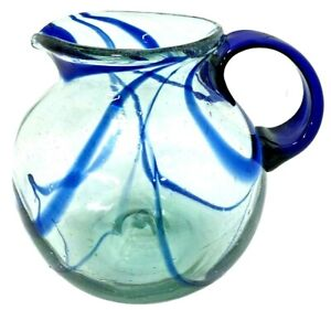 "Vintage Murano Style Blue Pitcher Art Glass 9"" X 7"" Diameter Cobalt Blue"