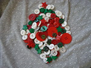 Buttons, Christmas colours, 50 grams, sewing/crafts