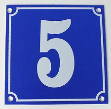 """Aluminium Hausnummer """"5"""" 10x10cm blau Hausnummernschild sofort lieferbar Schild"""