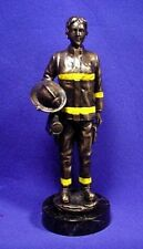 """12"""" Fireman Lady with Ax and Hose REAL Bronze METAL Finished ~ Statue, Figurine"""