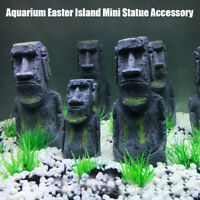 Mini Easter Island Statue Accessory Pipe Decoration Ornament Fish Tank Aquarium