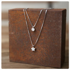 Genuine 925 Sterling Silver CZ Star Multi-layered Small Pendant Necklace A2701