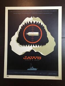 """""""JAWS""""  TOM WHALEN 2010 ARTIST SIGNED LIMITED EDITION SPIELBERG PRINT  $45!!"""