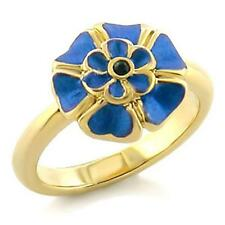 Gold Plated Flower Cocktail Ring Blue Enamel Crystal Island Size 8 USA seller