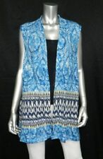 ONQUE CASUAL WOMAN NWT Blue Print Open Front Sleeveless Cardigan Vest Plus sz 1X