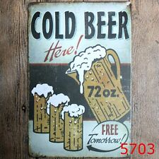 Metal Tin Sign cold beer here! Bar Pub Vintage Retro Poster Cafe ART