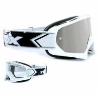 TWO-X Race Crossbrille MX Enduro Brille weiss Spiegelglas verspiegelt silber