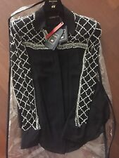 NWT H&M Balmain Pearl Crystal Embellished Silk Shirt Blouse Sold Out US Size 6