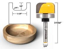 "1-1/8"" Diameter Bowl & Tray Router Bit - 1/4"" Shank - Yonico 14959q"