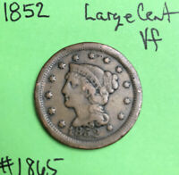 1852 1c Braided Hair Large Cent Vf Very Fine