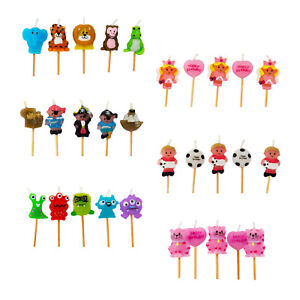 5 X Birthday Party Cake Candles Topper Decoration Pick Girls Boys Kids Candle