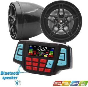 "3"" Motorcycle Weatherproof Bluetooth Wireless Speaker MP3 Music Player Audio Ste"