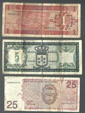 NETHERLANDS ANTILLES 😱😱 1 5 & 25 Gulden 3 pcs lot 😱😱 Collections & Lots