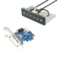 USB 3.0 Hub Front Panel 5.25 inch + PCIe Express USB 3.0 Adapter Card w/ 20 pin