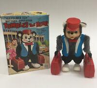 VTG Illfelder Battery Operated Tumbles The Bear Toy Yanoman Japan & Original Box