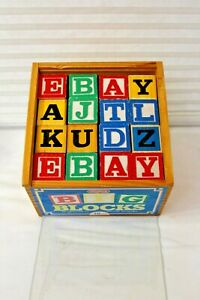 "Big Blocks 48 Played with ABC's 1""5/8 Wood Case Plexiglas Top Schylling 2001"