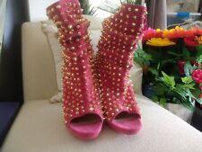 RARE Christian Louboutin Pink Rose Gold Spike Guerilla Boots Booties Heels 8 38