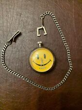 Joe Boxer Smiley Face Quartz Pocket Watch Stainless Steel With Chain
