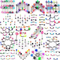Wholesale 10pcs Eyebrow Belly Tongue Bar Lip Rings Body Piercing Body Jewelry