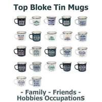 History & Heraldry Top Bloke Tin Mugs Family Friends Hobbies Occupations