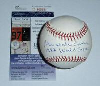 1982 BREWERS Marshall Edwards signed baseball w/ 1982 World Series JSA COA AUTO