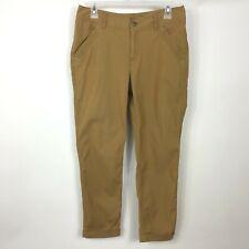 Exofficio Womens Gold Slim Ankle Pants Size 6 Flat Front Cuffs Cotton Blend