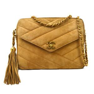 CHANEL Bias Stitch Fringe CC Chain Cross Body Shoulder Bag Brown 3416984 01698