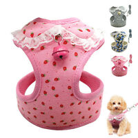 Adjustable Mesh Dog Harness&Leash Set With Bell Pet Dog Vest For Small Dogs Pink