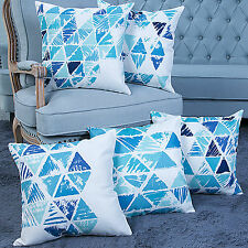 5 PCS 18'' BLUE & WHITE Geometry Triangle Linen Pillow Case Cushion Covers 5LB1