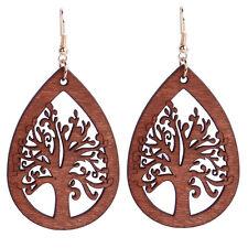 Dark brown Wood Teardrop with Tree Dangling Earrings drops fashionable E1240