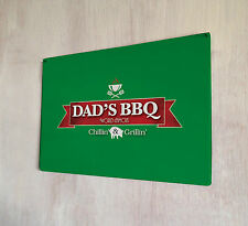 Dads BBQ Fathers day green sign A4 metal plaque pubs and clubs