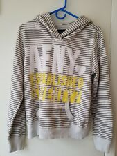 EUC American Eagle AE Women's White & Gray Striped Hoodie Sweatshirt - Large