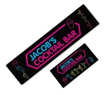 More details for personalised neon cocktail bar beer mat label bar runner ideal home pub occasion