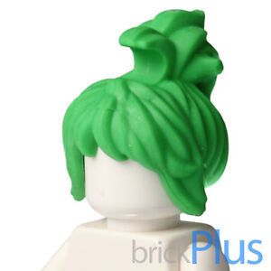 Lego Bright Green Minifig, Hair Female Messy with Swept-up Ponytail 6081972 9532