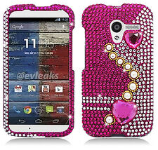 For Motorola Moto X XT1058  Crystal Diamond BLING Hard Case Cover Pearl Pink