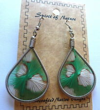 Earrings  Spirit of Nature thread animal print --green & white