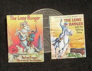 Dollhouse Miniature The Lone Ranger 2 Children's Books 1:12 Cowboy Western Book