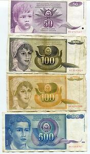 Yugoslavia 1990´s Set of 8 Banknotes in VF Condition Paper Money